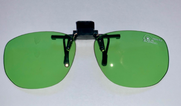 Green clip on glasses